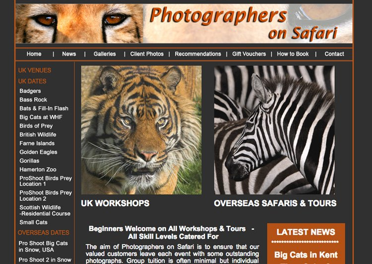 Photographers On Safari Old Website