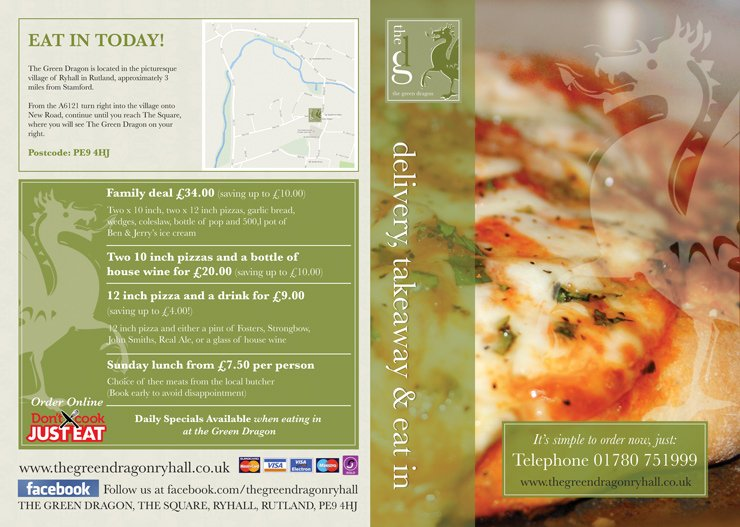 The Green Dragon Ryhall Pizza Menu Front Back