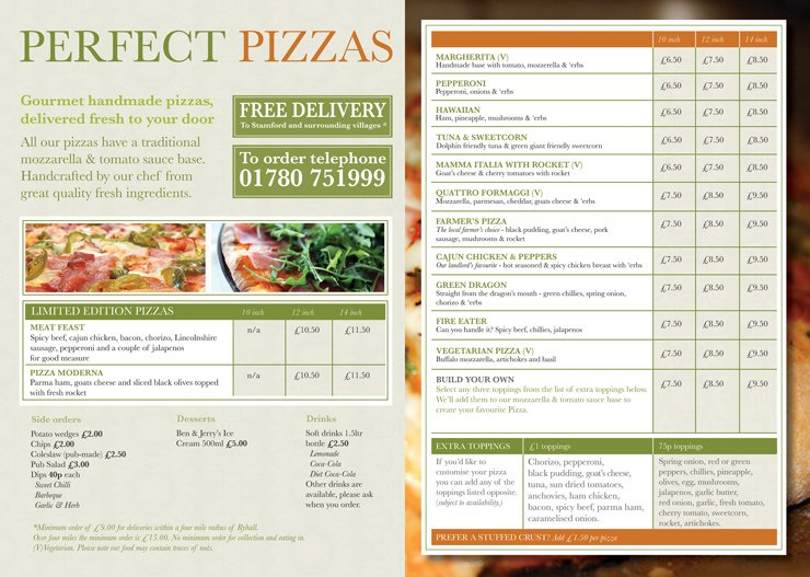The Green Dragon Ryhall Pizza Menu Inside